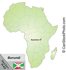 Map of burundi with main cities in green