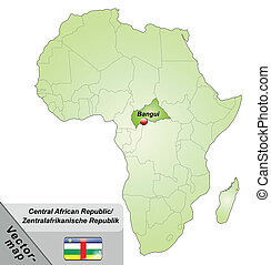 Map of Central African Republic with main cities in green