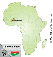 Map of Burkina Faso with main cities in green