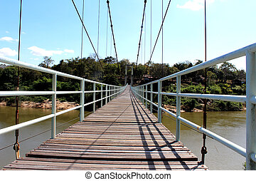 suspension bridge over river in rainforest