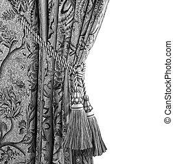 curtain with an ornament in black and white - curtain with...