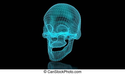 3D mesh skull in blue color. Perspective view. Part of a...