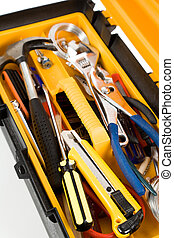 Yellow Toolbox close up shot