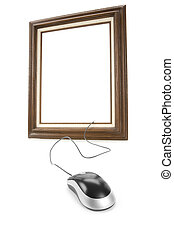 Digital Art - Wood Picture Frame and computer Mouse, concept...
