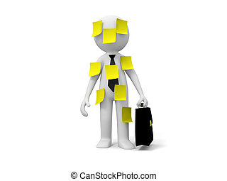 Businessman with note - 3d people with yellow note,...