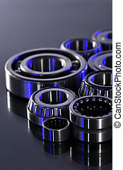 ball-bearings - closeup view of several ball-bearings in...