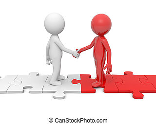 Man with puzzle - Two 3d people shaking hands on puzzle...
