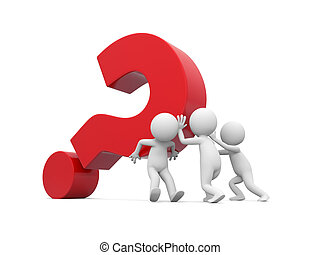 Man with question mark - Three 3d men pushing red question...