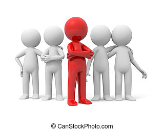 Team and leadership - 3d people in group, team and the...