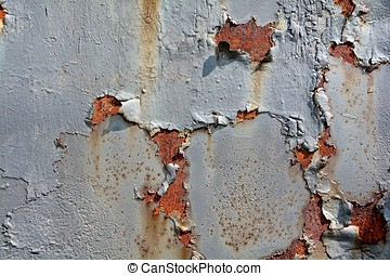 Rust on the surface of metals, with residues of paint