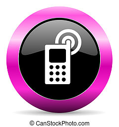 phone pink glossy icon - web glossy pushbutton