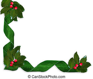 Christmas Holly and ribbons border - Image and illustration...