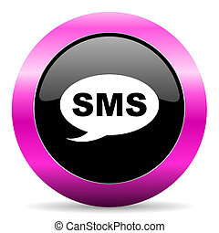 sms pink glossy icon - web glossy pushbutton