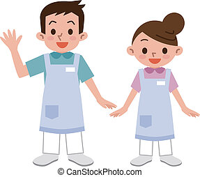 Young men and women of caregiver - Vector illustration