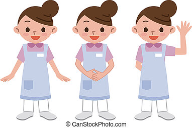 Young women of caregiver - Vector illustration