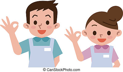 caregivers ok sign - Vector illustration
