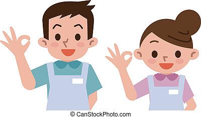 caregivers ok sign  - Vector illustration.