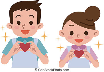 Caregivers care with hearts - Vector illustration
