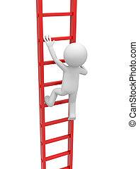 Man with ladder - 3d man, person, people climbing the ladder