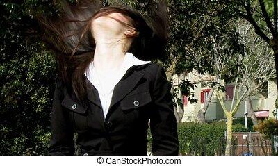 Asian girl moving long hair