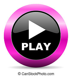 play pink glossy icon - web glossy pushbutton