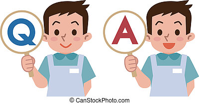 Young caregivers with a question an - Vector illustration