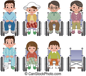 Person sitting in a wheelchair peop - Vector illustration.