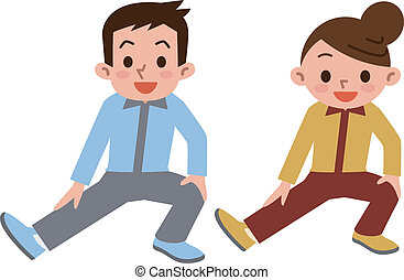 Young men and women has a stretch - Vector illustration.