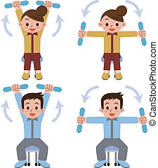 Young men and women has a dumbbell - Vector illustration