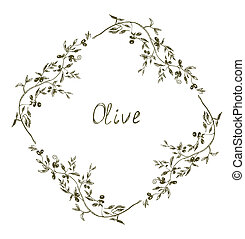 Olive frame hand drawn design illustration