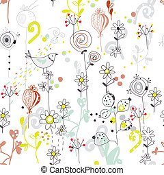 Floral seamless pattern with bird sketch design