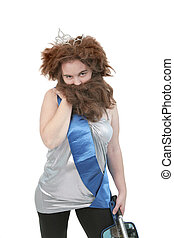 beast beauty - cavewoman beauty pageant contestant with...