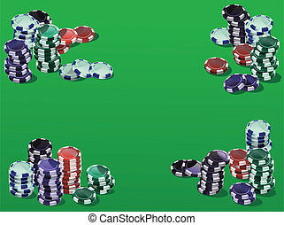 Fiches on green - Poker fiches on a green background
