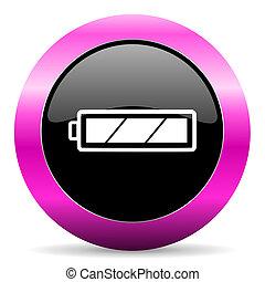 battery pink glossy icon - web glossy pushbutton