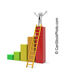 Man with ladder - 3d man, people, person with bar chart and...