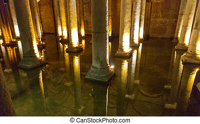 Underground Basilica Cistern, Istanbul, Turkey - Wide view...