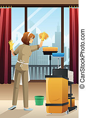 Hotel janitor cleaning the hotel room - A vector...