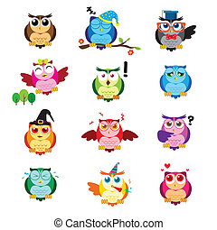 Different owls with different expressions