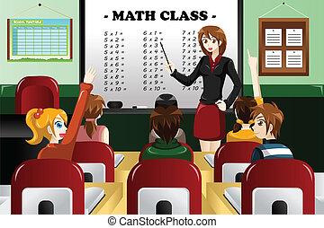 Kids studying math in the classroom - A vector illustration...