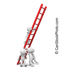 Man with ladder - 3d man, people, person with red ladder/...