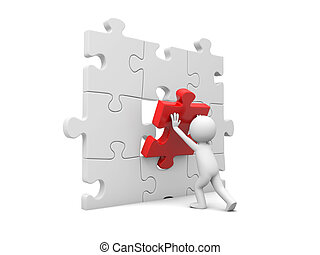 Man with puzzle - 3d man, person, human assembling puzzle...