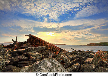 Rusted shipwreck at Botany Bay Sydney Australia - The...