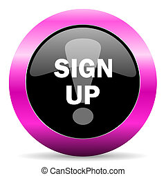 sign up pink glossy icon - web glossy pushbutton