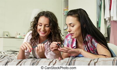 In-Home Manicure Salon - Girls chatting and doing their...
