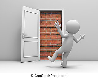 Door with bricks - 3d man, people, person in front of a...