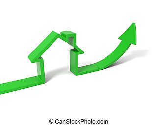 Green house - 3d green house with growth arrow isolated on...