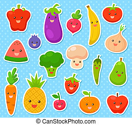 fruits and vegetables - collection of cartoon fruit and...