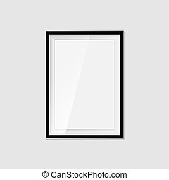 Realistic blank frame on a white background