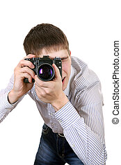 Teenager with Photo Camera - Young Man Take a Picture with...