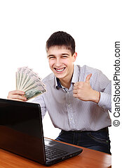 Happy Teenager with a Money - Happy Teenager with Laptop and...